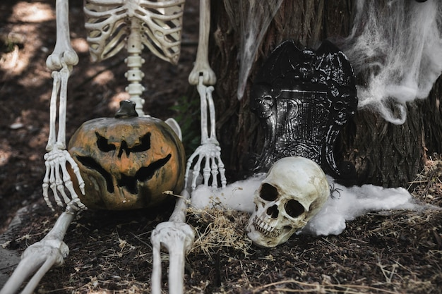 Skeleton with pumpkin sitting near skull and gravestone leaning on tree