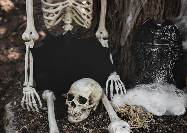 Skeleton with tablet in blot form sitting near tombstone leaning on tree