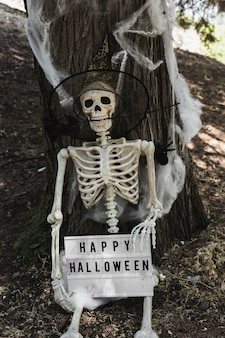 Skeleton in wizard hat holding halloween tablet near tree