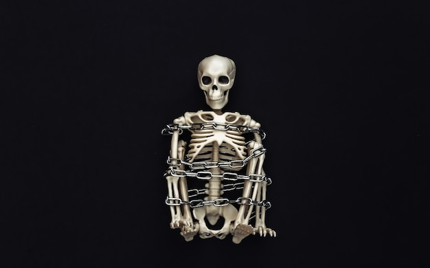 Skeleton wrapped in metal chain on black. halloween decoration, scary theme