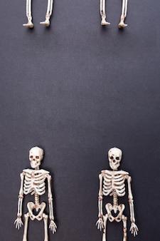Скелеты на черном фоне. день смерти концепции. открытка на хэллоуин.