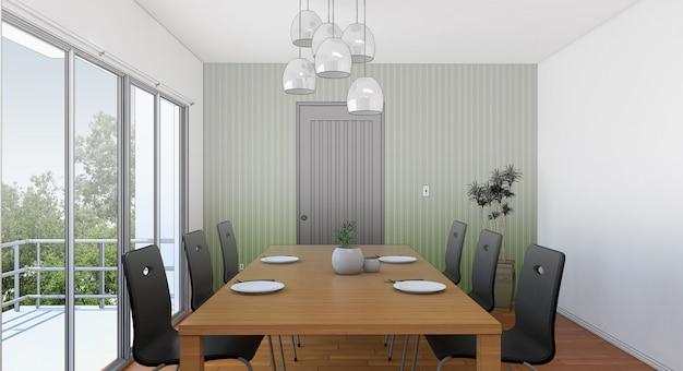 Sketch design of dining ,3dwireframe render
