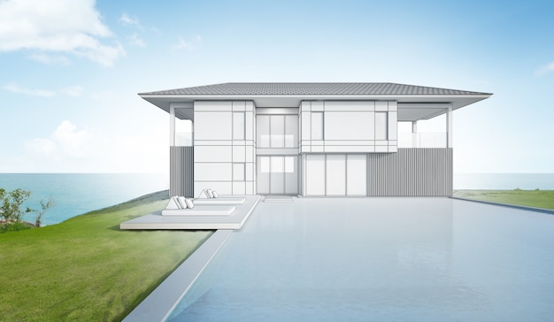 Sketch design of modern beach house and pool.
