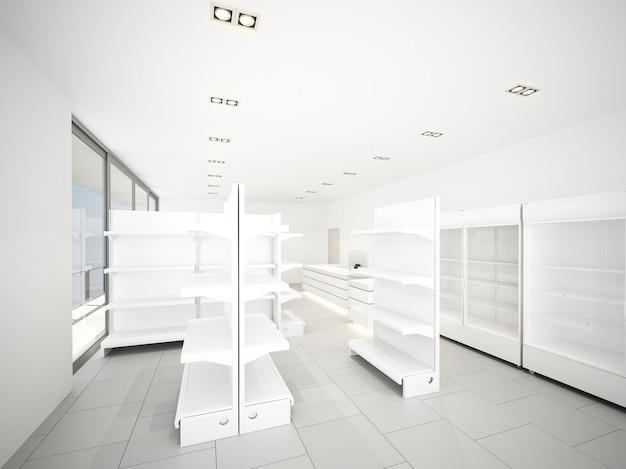 슈퍼마켓, 3d 렌더링의 스케치 디자인
