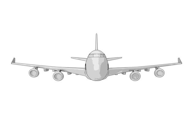 白い背景の上の旅客機の鉛筆画のスケッチ。 3dレンダリング Premium写真