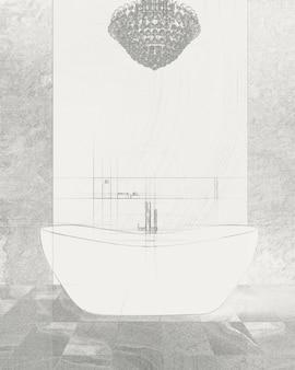 현대적인 욕실에서 독립형 목욕 믹서와 함께 서있는 흰색 욕조의 스케치. 자유형 그리기.