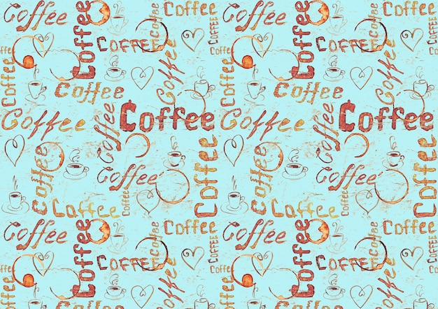 Sketch turquoise coffee surface with lettering, hearts, coffee cups and cups traces