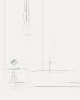 Sketch of white bathtub standing with freestanding bath in a bathroom