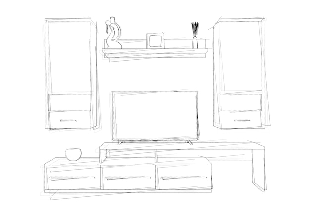 Эскизы ручной рисунок стенового блока современной гостиной на белом фоне. 3d-рендеринг.