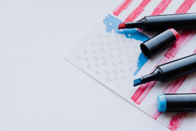 Sketching of american flag