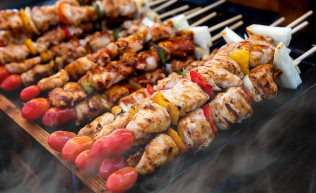 Skewer grilled barbecue arranging.