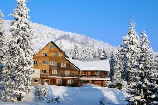 산 마을의 스키 샬레