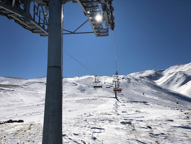 Подъемник на горнолыжном курорте эрджиес, турция. красивый рельеф, яркое солнце, снежные склоны.