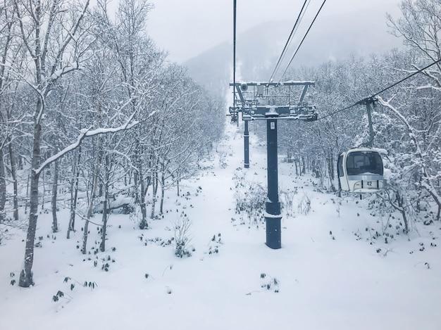 Ski-lift in niseko ski resort, hokkaido.