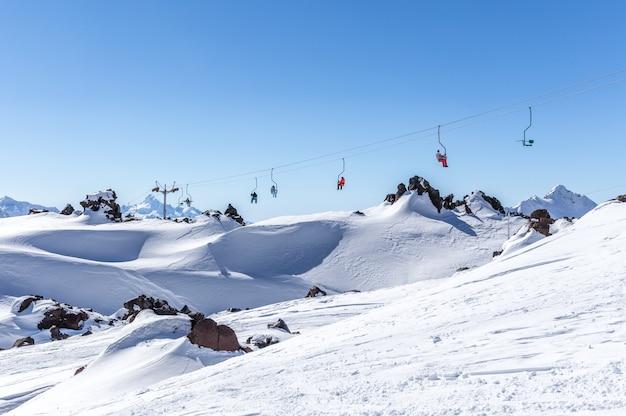 Ski lift in  ski resort high in the mountains