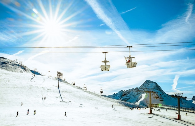 Ski resor glacier and chair lift in french alps
