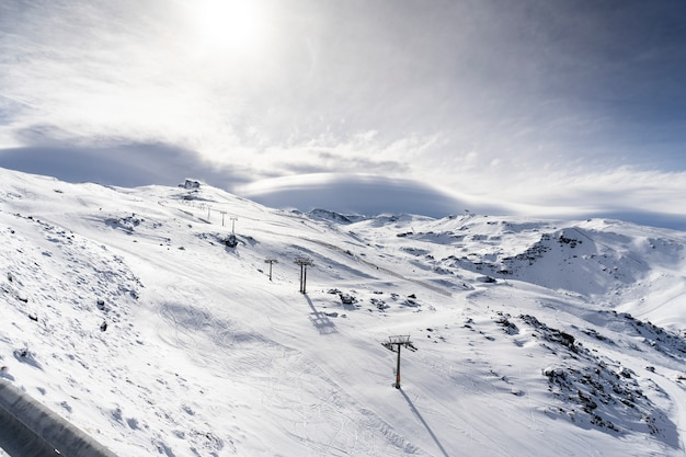 Ski resort of sierra nevada in winter
