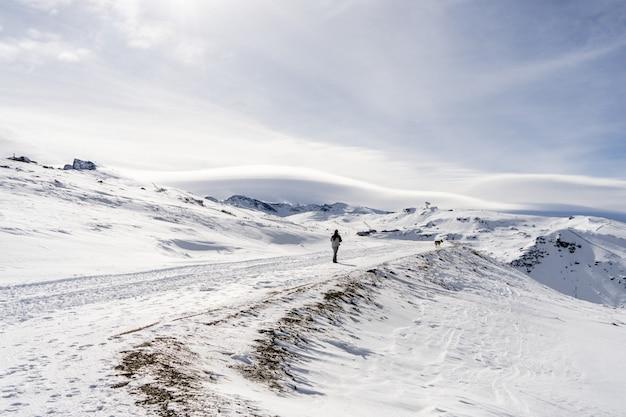 Ski resort of sierra nevada in winter