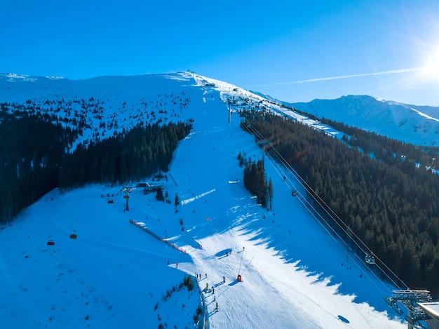 Ski resort in sunny weather. ski slopes of a wooded mountain. many tourists. aerial view