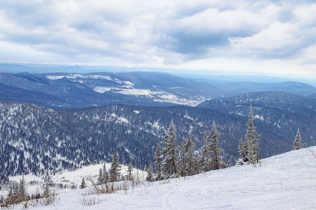 Ski slope in mountains. ski resort sheregesh, siberia, russia.