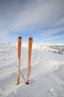 Ski tour equipment in the snow, winter on the alps