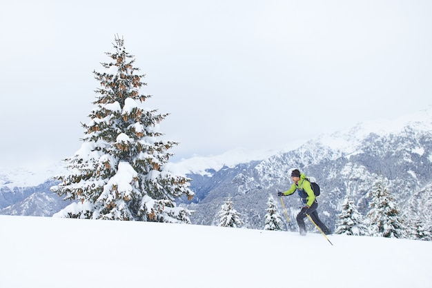 신선한 눈이 많이 내리는 스키 투어 한 사람 오르막