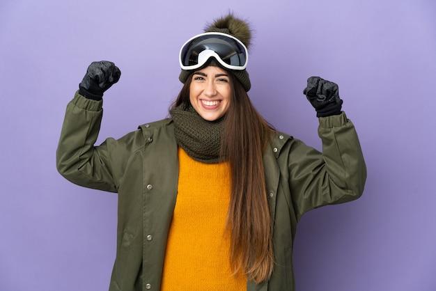 스노우 보드 안경 절연 스키 백인 여자