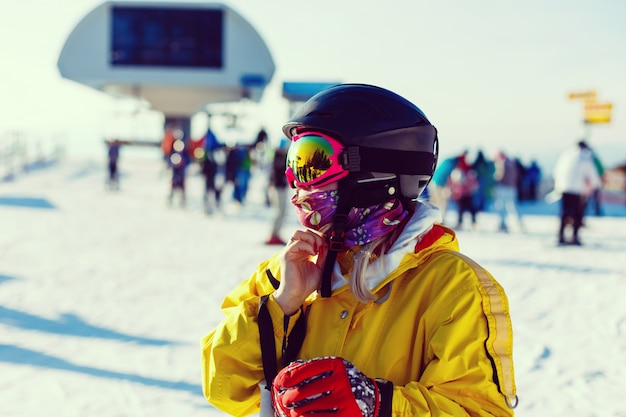 Skier girl with sunglasses