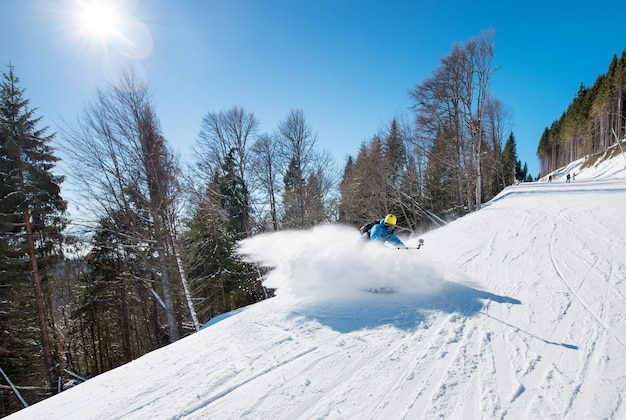 Skier shoting by action camera
