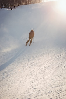 Skier skiing on the mountain slope
