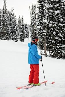 雪に覆われた山でスキーをするスキーヤー