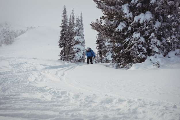 雪山でスキーをするスキーヤー