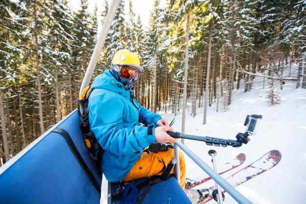 Skier taking selfies