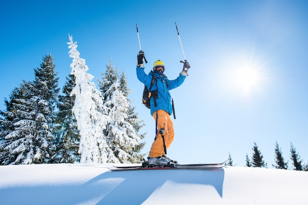 Skier on the top of the mountain