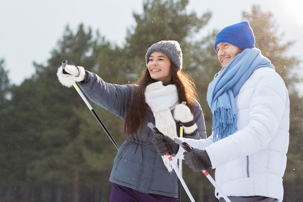 Skiers talking