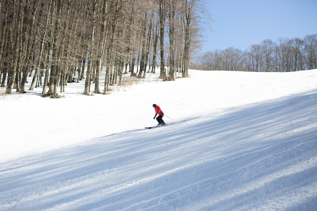 Skiing in the mountain. extreme winter sports.
