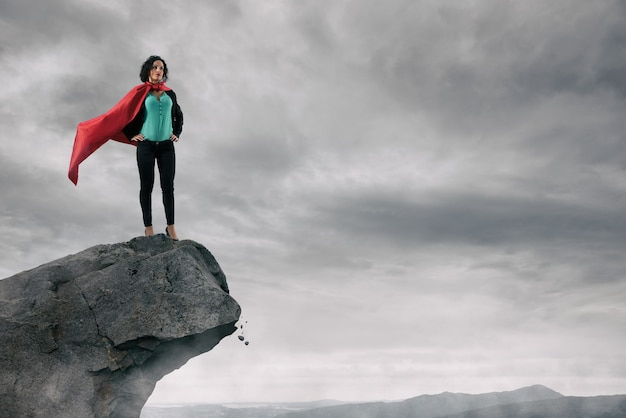 Skillful and self confident business woman dominates from above
