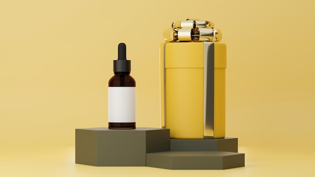 선물 상자와 갈색 유리 병이 있는 파스텔 노란색 배경의 스킨 케어 광고 포스터