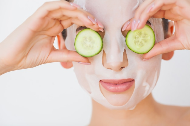 Skin care. beauty woman face with fresh skin in spa