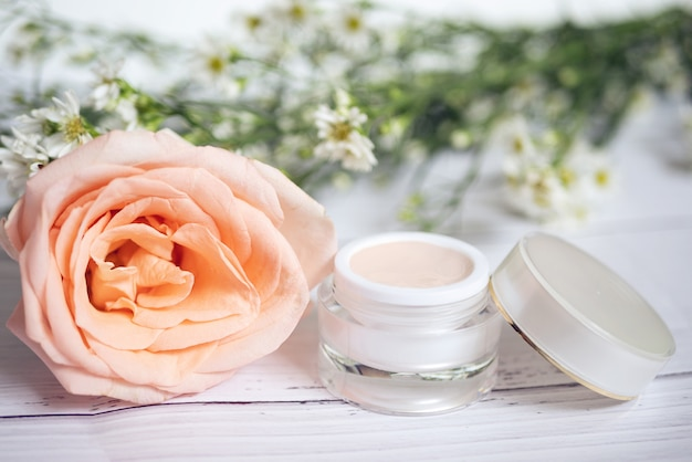 Skin care concept. product of pink skincare remedies cream in package