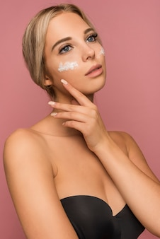 Skin care concept with beautiful woman