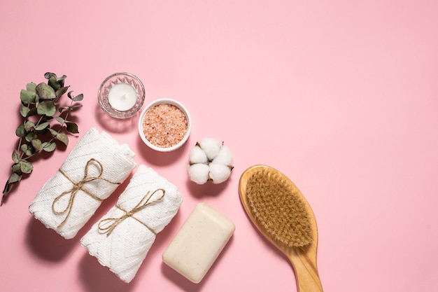 Skin care and home spa procedures concept with sea salt