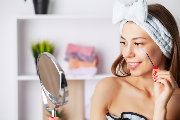 Skin care, portrait of a pretty woman with perfect face skin