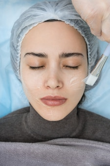 Skin care procedure. cosmetology. moisture treatment.