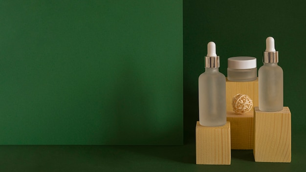 Skin oil dropper assortment with copy space