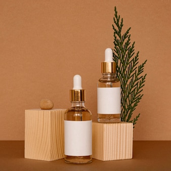 Skin oil droppers assortment with wooden pieces