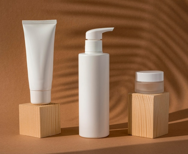 Skin products arrangement on wooden blocks