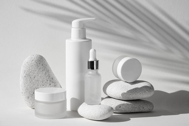 Skin products in different recipients assortment