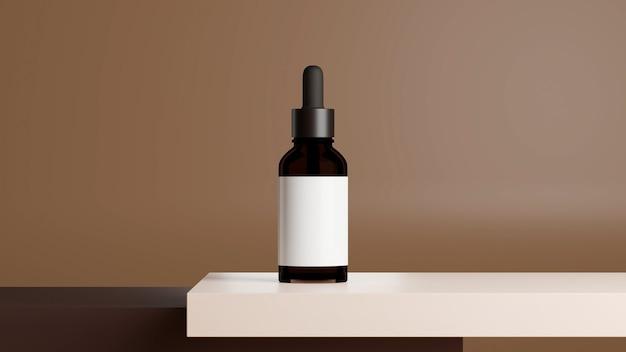 Шаблон упаковки косметической бутылки из коричневого стекла-капельницы на белом столе с коричневым фоном