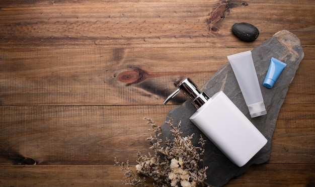 Skincare products and soap dispenser